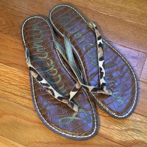 Sam Edelman leopard Gracie flip flop sandals